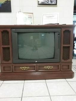 Zenith Floor Model Oak Cabinet Tv